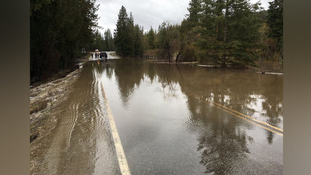 SR20 closed 25 miles north of Newport for water over the road