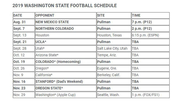 WSU football's early TV schedule announced