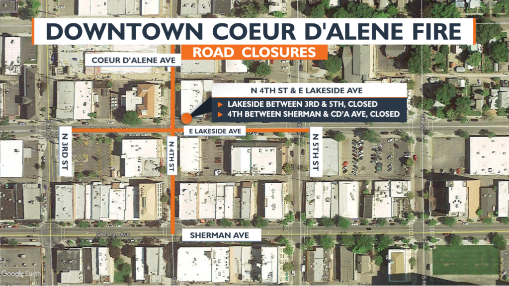 Map of downtown Coeur d'Alene marking streets blocked off by fire crews.