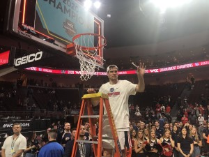 Corey Kispert cuts down the nets after Gonzaga wins the WCC tournament in Las Vegas