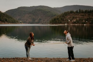 Couple With Social Distancing Rule In Engagement Photo
