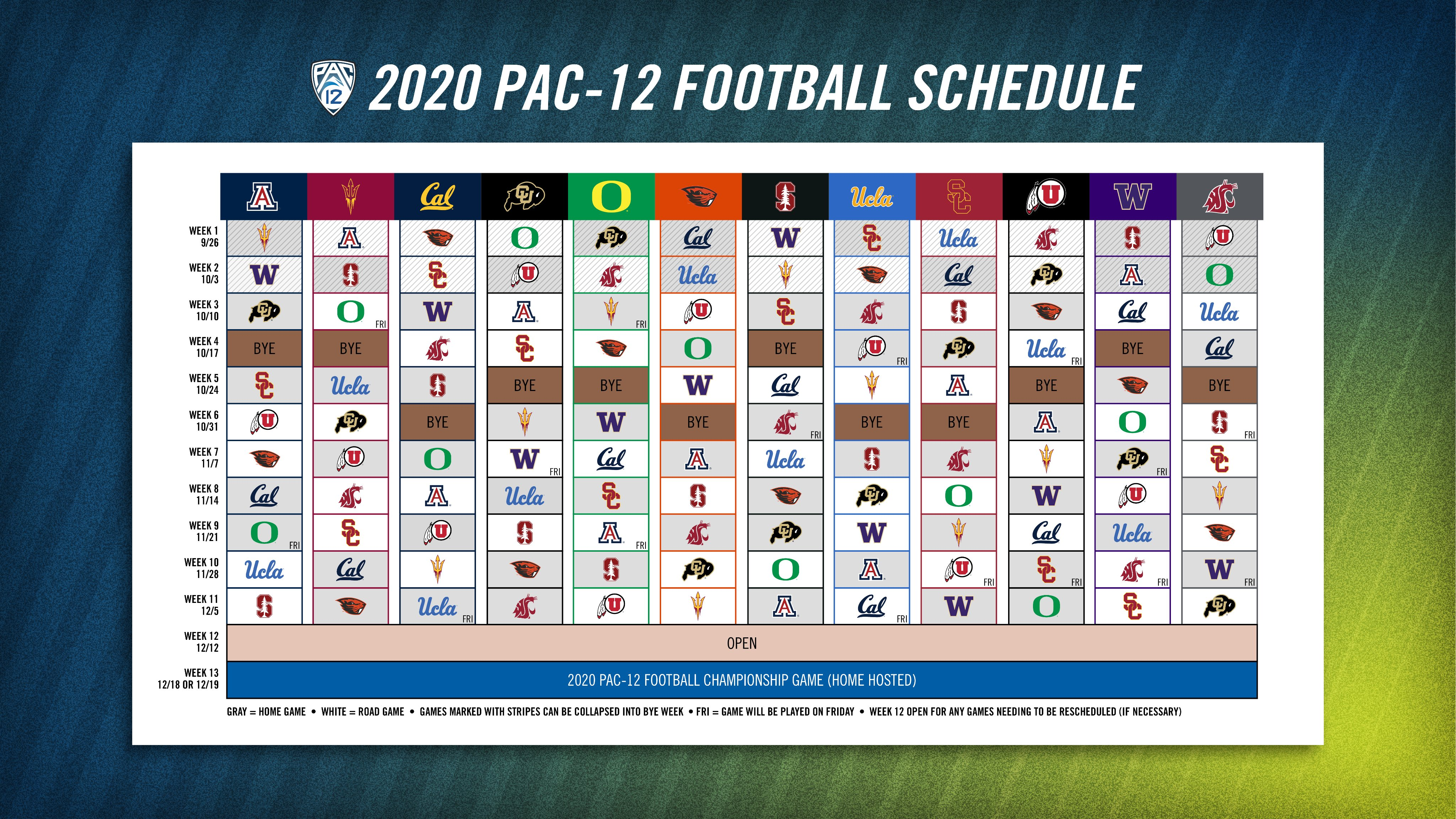 Pac12 football schedule
