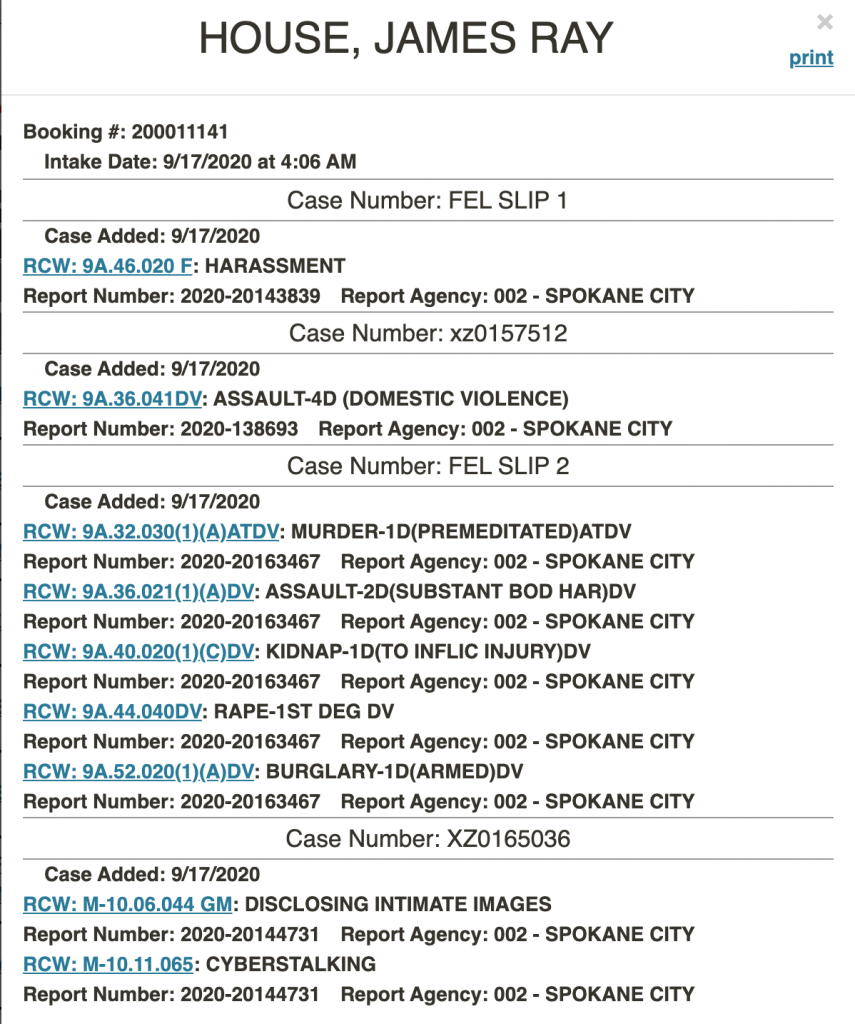 Charges Against James House