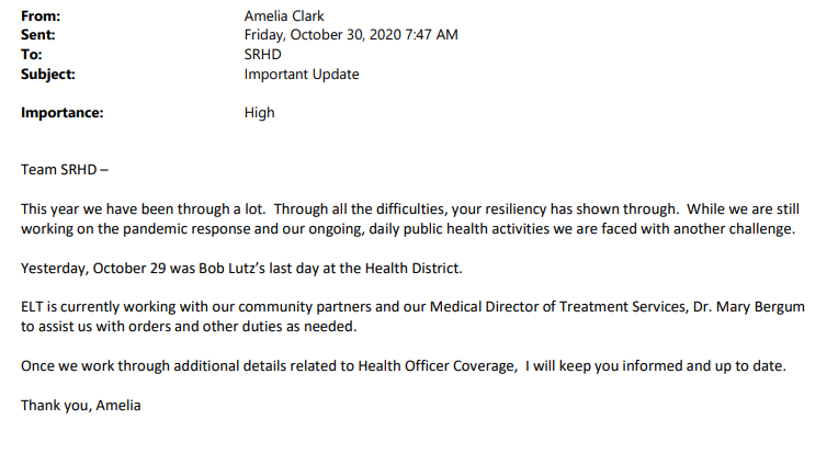Letter to SRHD Staff