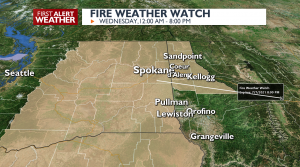 Fire Weather Watch in effect Wednesday.