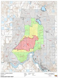 Ford Corkscrew Fire evacuations map 8-26-21