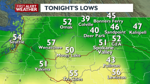 Clearing skies will allow our overnight temps to drop quite a bit!