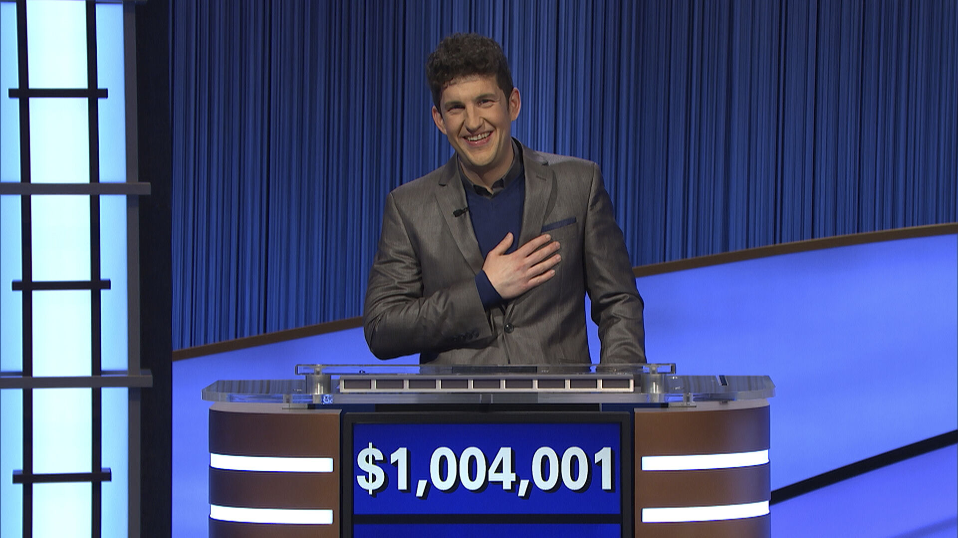 """<p>This photo provided by Jeopardy Productions Inc. shows """"Jeopardy!"""" contestant Matt Amodio's after his total win amount was announced, Friday, Sept. 24, 2021. Amodio, a fifth-year computer science Ph.D student at Yale University, won ,800 for his 28th victory, bringing his total winnings to ,004,001.</p>"""