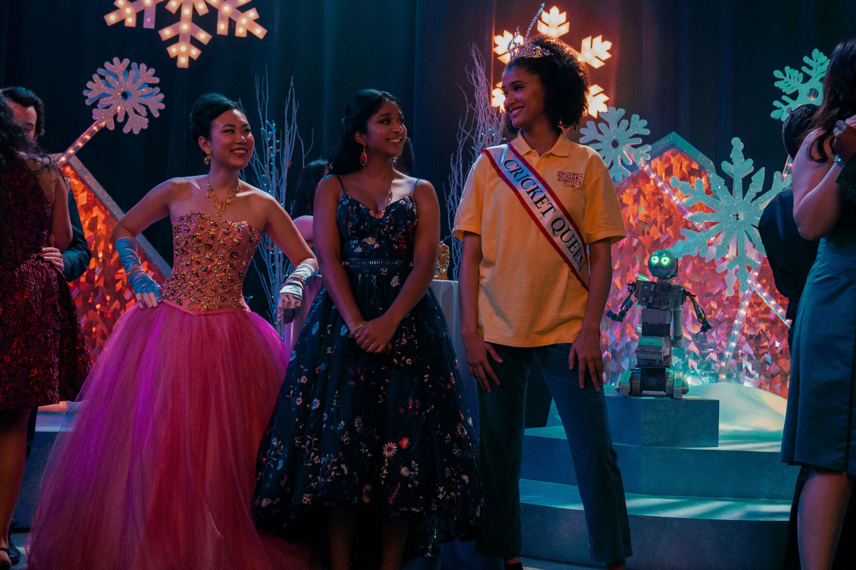 """<p>Ramona Young (from left), Maitreyi Ramakrishnan and Lee Rodriguez star in """"Never Have I Ever."""" The show is a good conversation opener for parents.</p>"""