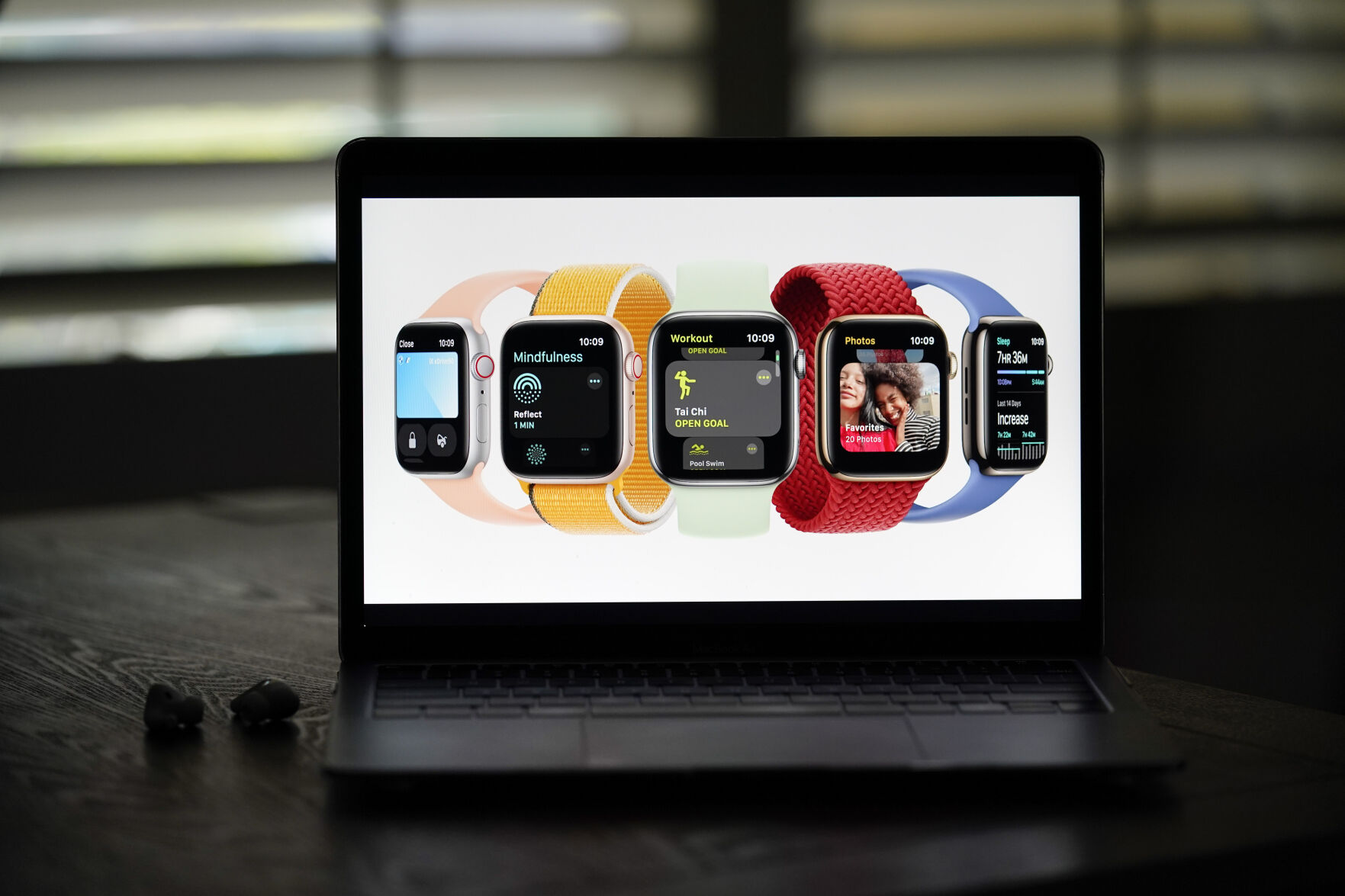 <p>Seen on the screen of a device in La Habra, Calif., new Apple Watch Series 7 models are introduced during a virtual event held to announce new Apple products Tuesday, Sept. 14, 2021. (AP Photo/Jae C. Hong)</p>
