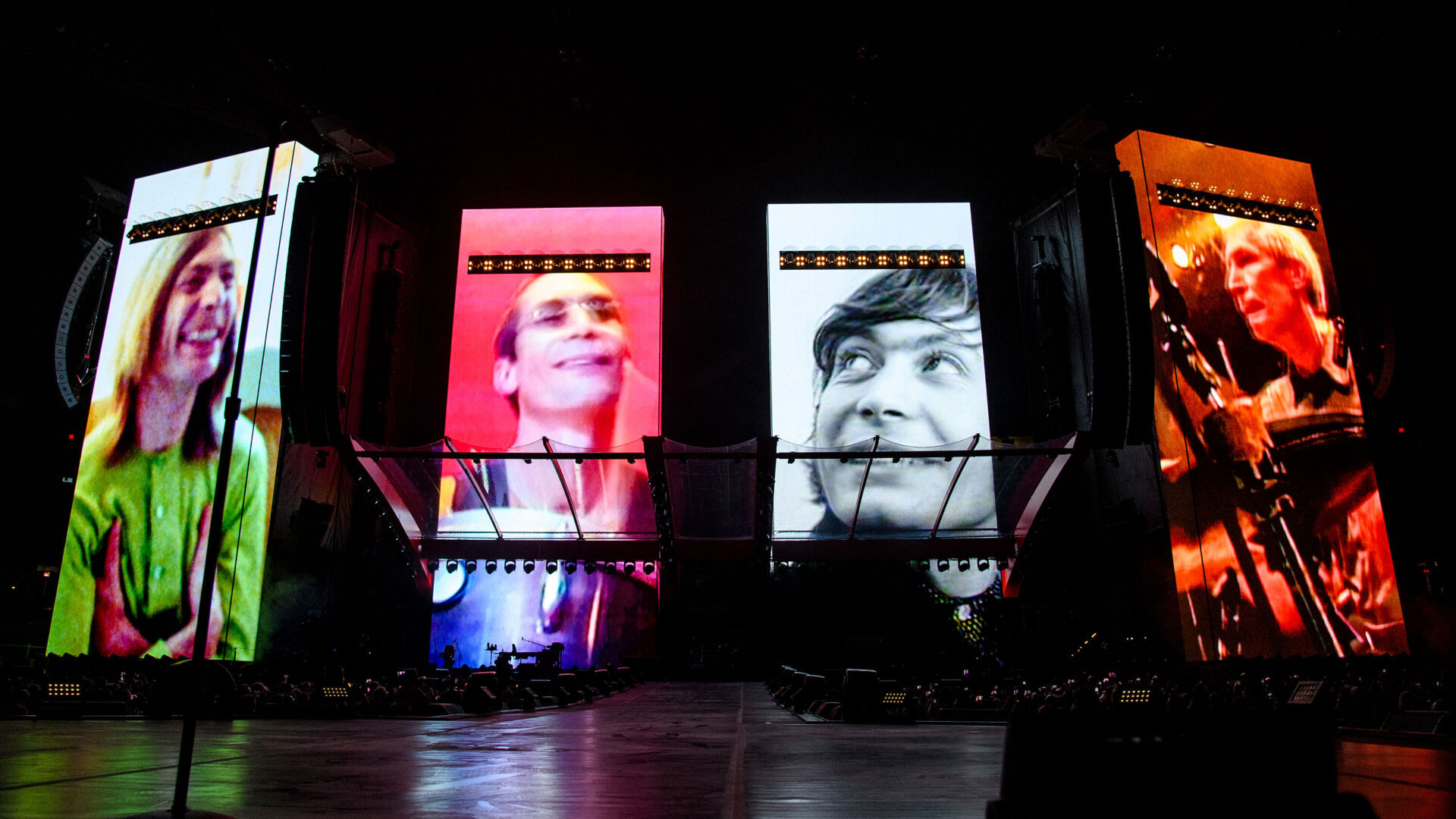 <p>A video tribute to Charlie Watts plays before the Rolling Stones perform in St. Louis, Missouri on Sunday.</p>