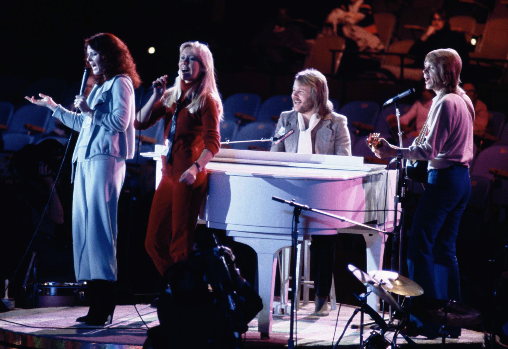 <p>ABBA, from left, Anni-Frid Lyngstad, Agnetha Foltskog, Benny Andersson and Bjorn Ulvaeus, perform at the United Nations General Assembly in New York during taping of a special on Jan. 9, 1979.</p>
